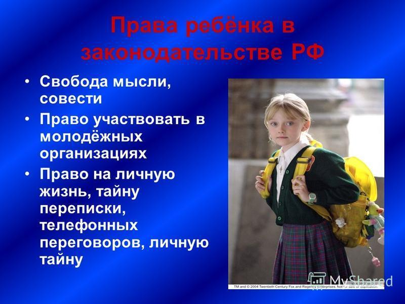 Права ребёнка в законодательстве РФ Свобода мысли, совести Право участвовать в молодёжных организациях Право на личную жизнь, тайну переписки, телефонных переговоров, личную тайну