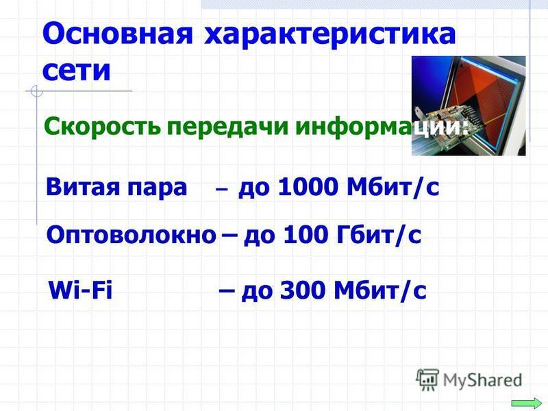 Основная характеристика сети Витая пара – до 1000 Мбит/с Скорость передачи информации: Оптоволокно – до 100 Гбит/с Wi-Fi – до 300 Мбит/с