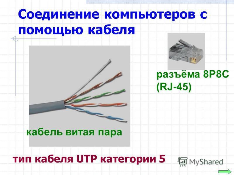 Соединение компьютеров с помощью кабеля тип кабеля UTP категории 5 разъёма 8P8C (RJ-45) кабель витая пара