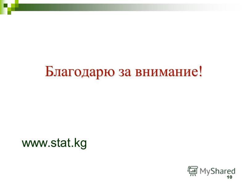 Благодарю за внимание! Благодарю за внимание! www.stat.kg 10
