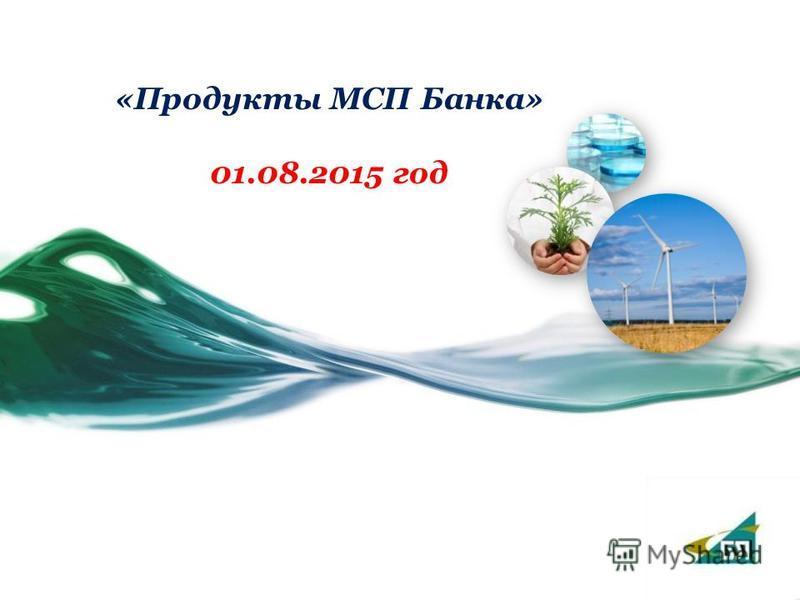 «Продукты МСП Банка» 01.08.2015 год