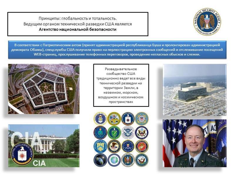 Разведывательное сообщество США традиционно ведет все виды технической разведки на территории Земли, в наземном, морском, воздушном и космическом пространствах Принципы: глобальность и тотальность. Ведущим органом технической разведки США является Аг