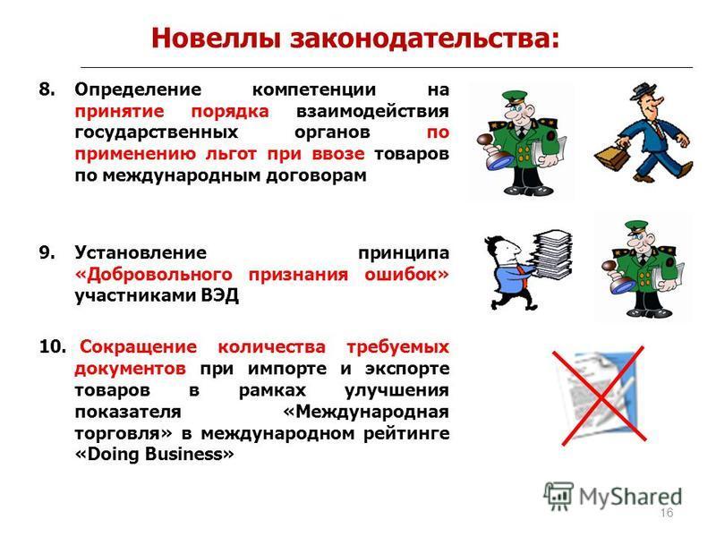 Новеллы законодательства: 8. Определение компетенции на принятие порядка взаимодействия государственных органов по применению льгот при ввозе товаров по международным договорам 9. Установление принципа «Добровольного признания ошибок» участниками ВЭД