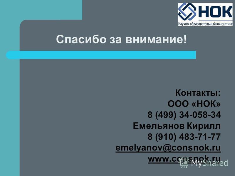 Спасибо за внимание! Контакты: ООО «НОК» 8 (499) 34-058-34 Емельянов Кирилл 8 (910) 483-71-77 emelyanov@consnok.ru www.consnok.ru