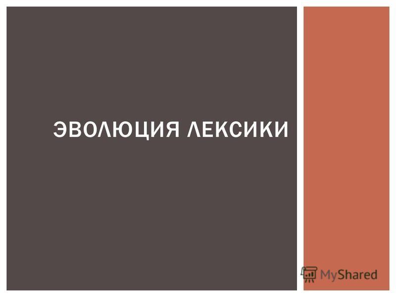 ЭВОЛЮЦИЯ ЛЕКСИКИ