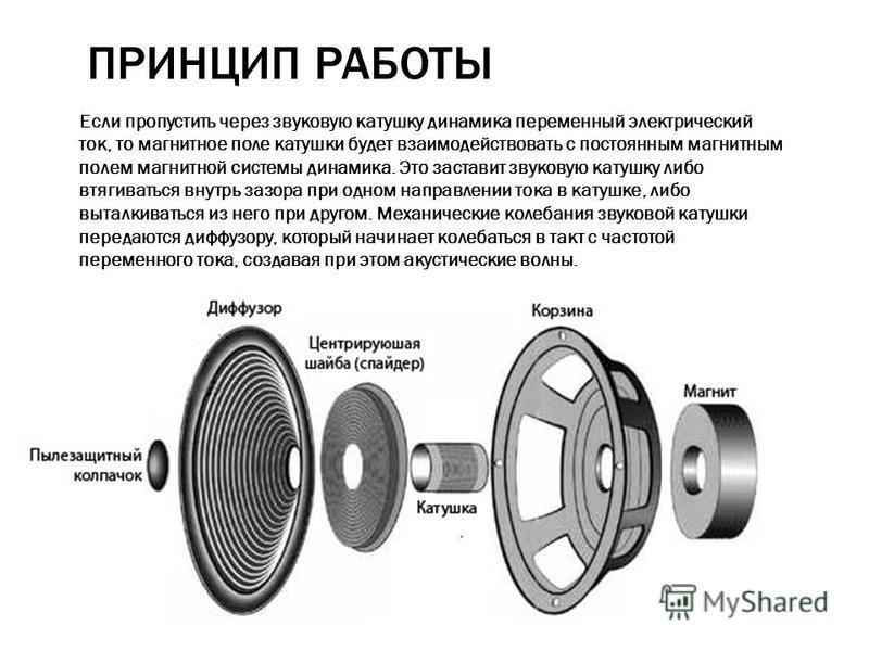 ПРИНЦИП РАБОТЫ Если пропустить через звуковую катушку динамика переменный электрический ток, то магнитное поле катушки будет взаимодействовать с постоянным магнитным полем магнитной системы динамика. Это заставит звуковую катушку либо втягиваться вну