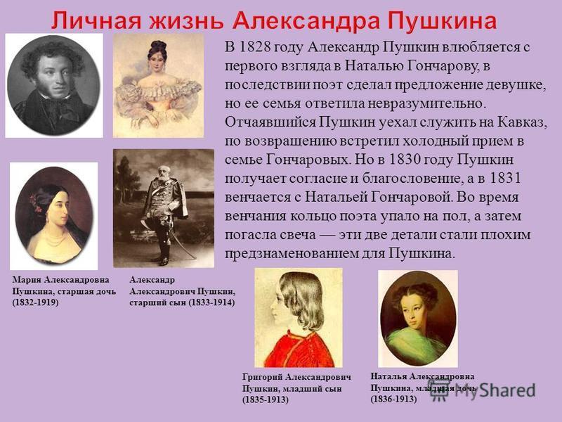В 1828 году Александр Пушкин влюбляется с первого взгляда в Наталью Гончарову, в последствии поэт сделал предложение девушке, но ее семья ответила невразумительно. Отчаявшийся Пушкин уехал служить на Кавказ, по возвращению встретил холодный прием в с