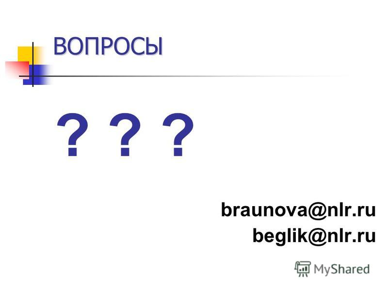ВОПРОСЫ ? ? ? braunova@nlr.ru beglik@nlr.ru