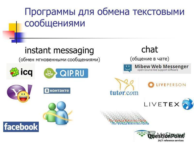 Программы для обмена текстовыми сообщениями instant messaging (обмен мгновенными сообщениями) chat (общение в чате)