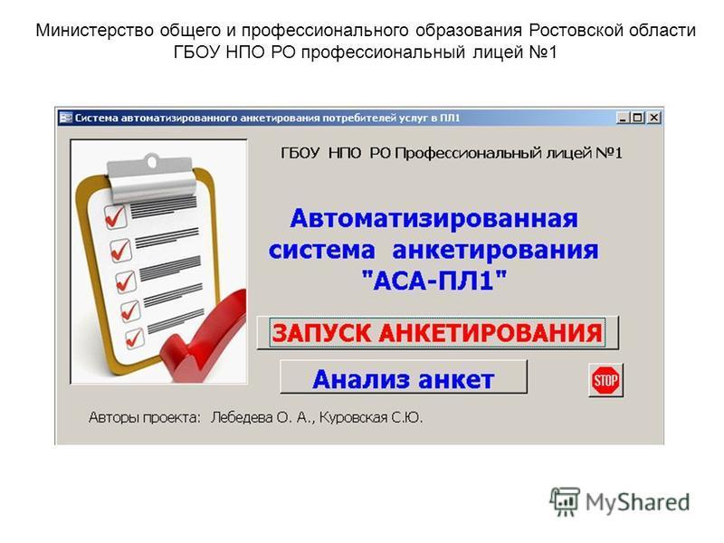 Министерство общего и профессионального образования Ростовской области ГБОУ НПО РО профессиональный лицей 1