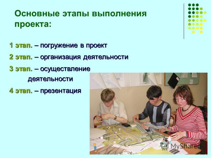 Основные этапы выполнения проекта: 1 этап. – погружение в проект 2 этап. – организация деятельности 3 этап. – осуществление деятельности 4 этап. – презентация