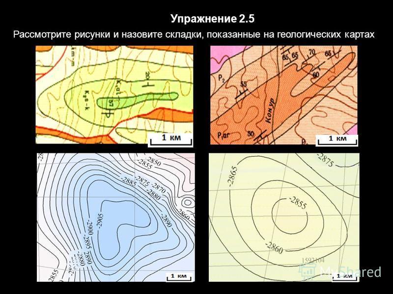 Упражнение 2.5 Рассмотрите рисунки и назовите складки, показанные на геологических картах