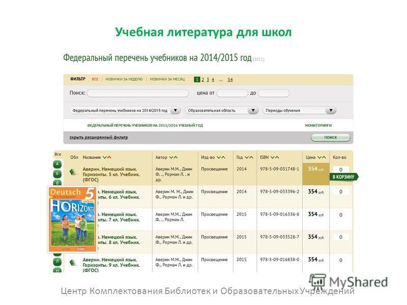Учебная литература для школ Центр Комплектования Библиотек и Образовательных Учреждений