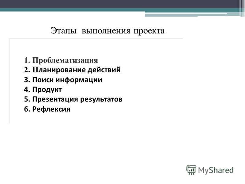 Этапы выполнения проекта 1. Проблематизакция 2. П ланирование действий 3. Поиск информации 4. Продукт 5. Презентакция результатов 6. Рефлексия