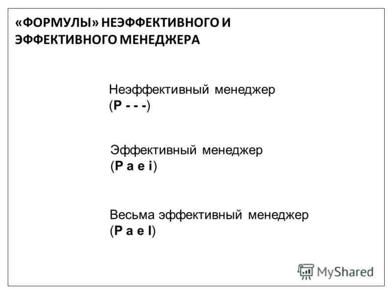 Неэффективный менеджер (Р - - -) Эффективный менеджер (P a e i) Весьма эффективный менеджер (P a e I) «ФОРМУЛЫ» НЕЭФФЕКТИВНОГО И ЭФФЕКТИВНОГО МЕНЕДЖЕРА