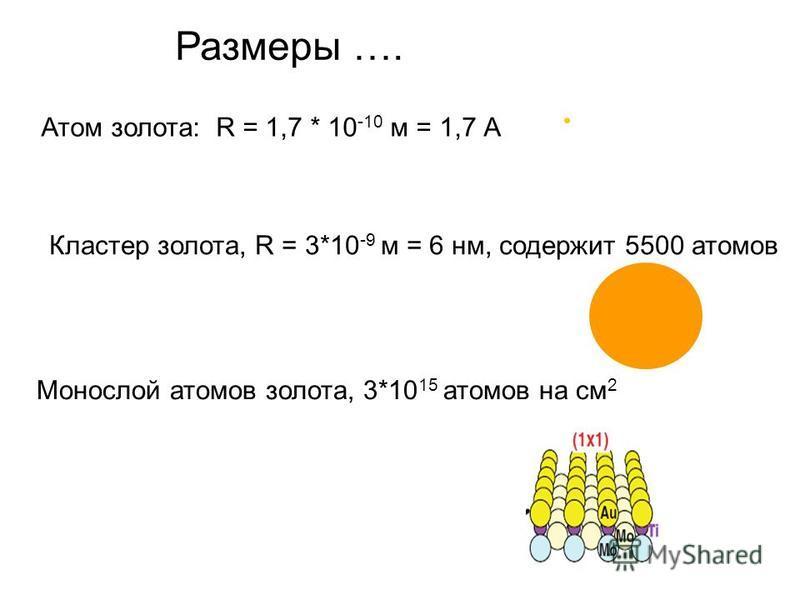 Размеры …. Атом золота: R = 1,7 * 10 -10 м = 1,7 А Кластер золота, R = 3*10 -9 м = 6 нм, содержит 5500 атомов Монослой атомов золота, 3*10 15 атомов на см 2