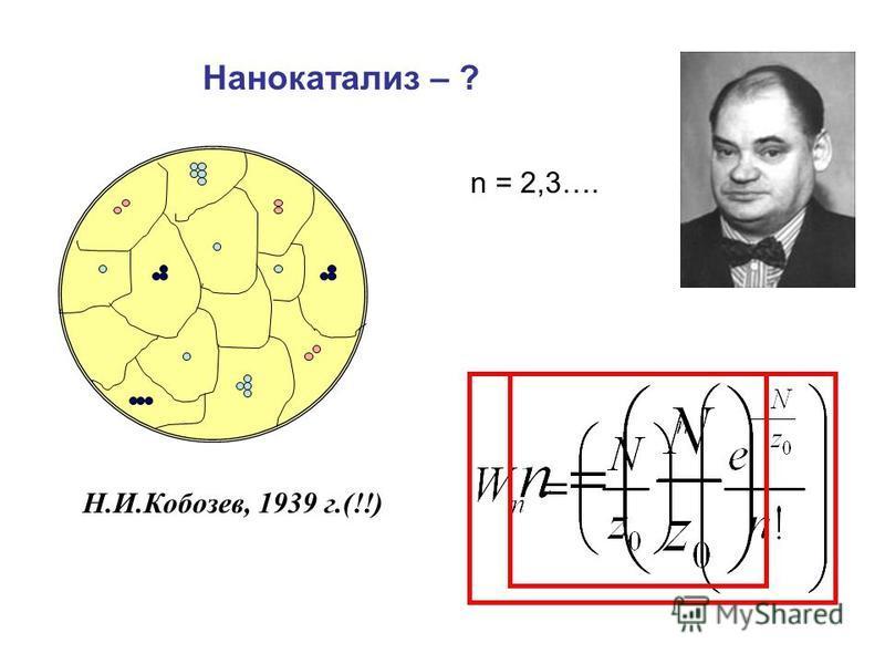 Н.И.Кобозев, 1939 г.(!!) Нанокатализ – ? n = 2,3….