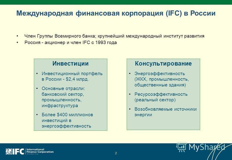 Международная финансовая корпорация (IFC) в России Член Группы Всемирного банка; крупнейший международный институт развития Россия - акционер и член IFC с 1993 года Инвестиции Инвестиционный портфель в России - $2,4 млрд. Основные отрасли: банковский