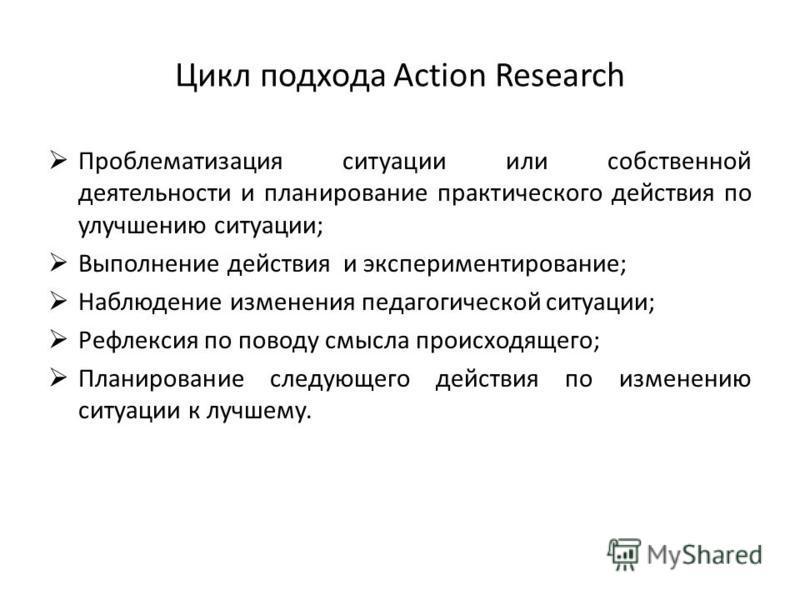 Цикл подхода Action Research Проблематизация ситуации или собственной деятельности и планирование практического действия по улучшению ситуации; Выполнение действия и экспериментирование; Наблюдение изменения педагогической ситуации; Рефлексия по пово