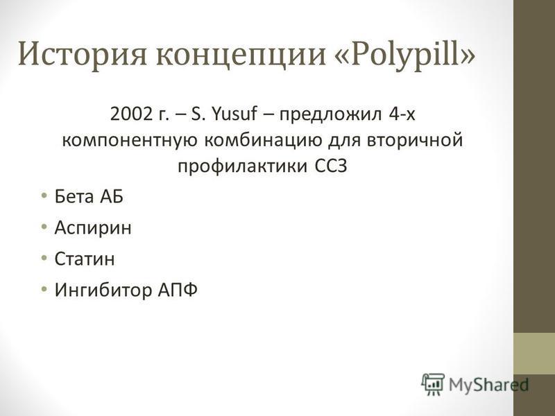 История концепции «Polypill» 2002 г. – S. Yusuf – предложил 4-х компонентную комбинацию для вторичной профилактики ССЗ Бета АБ Аспирин Статин Ингибитор АПФ