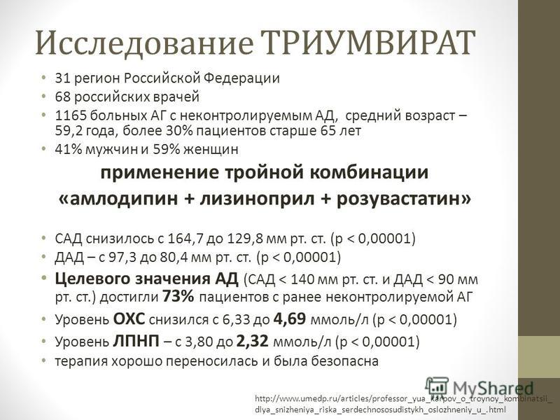 Исследование ТРИУМВИРАТ 31 регион Российской Федерации 68 российских врачей 1165 больных АГ с неконтролируемым АД, средний возраст – 59,2 года, более 30% пациентов старше 65 лет 41% мужчин и 59% женщин применение тройной комбинации «амлодипин + лизин