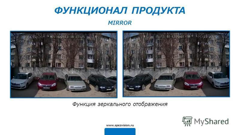 Функция зеркального отображения www.spezvision.ru MIRROR ФУНКЦИОНАЛ ПРОДУКТА