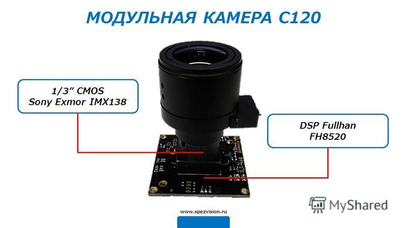 DSP Fullhan FH8520 1/3 CMOS Sony Exmor IMX138 www.spezvision.ru МОДУЛЬНАЯ КАМЕРА C120