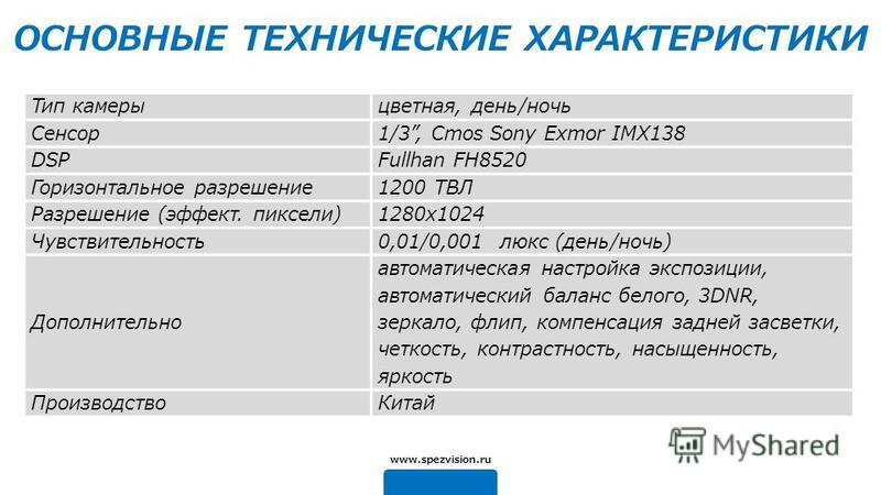Тип камеры цветная, день/ночь Сенсор 1/3, Cmos Sony Exmor IMX138 DSPFullhan FH8520 Горизонтальное разрешение 1200 ТВЛ Разрешение (эффект. пиксели)1280x1024 Чувствительность 0,01/0,001 люкс (день/ночь) Дополнительно автоматическая настройка экспозиции