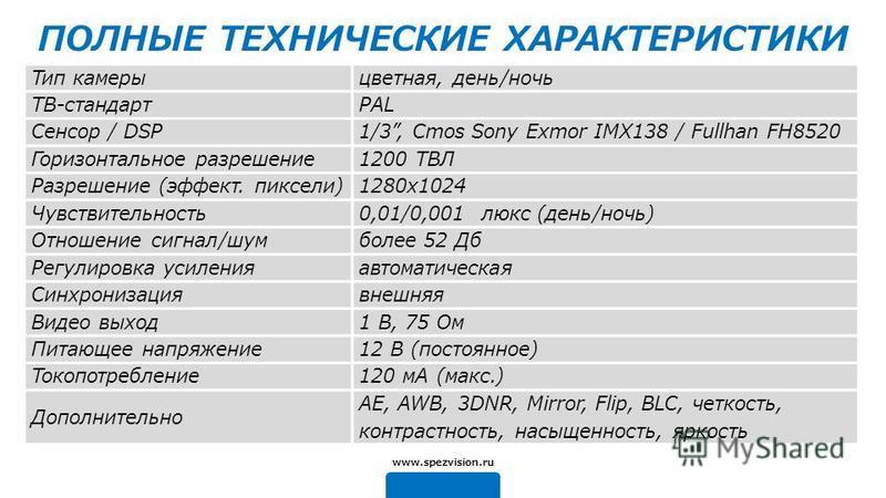 ПОЛНЫЕ ТЕХНИЧЕСКИЕ ХАРАКТЕРИСТИКИ Тип камеры цветная, день/ночь ТВ-стандартPAL Сенсор / DSP1/3, Cmos Sony Exmor IMX138 / Fullhan FH8520 Горизонтальное разрешение 1200 ТВЛ Разрешение (эффект. пиксели)1280x1024 Чувствительность 0,01/0,001 люкс (день/но