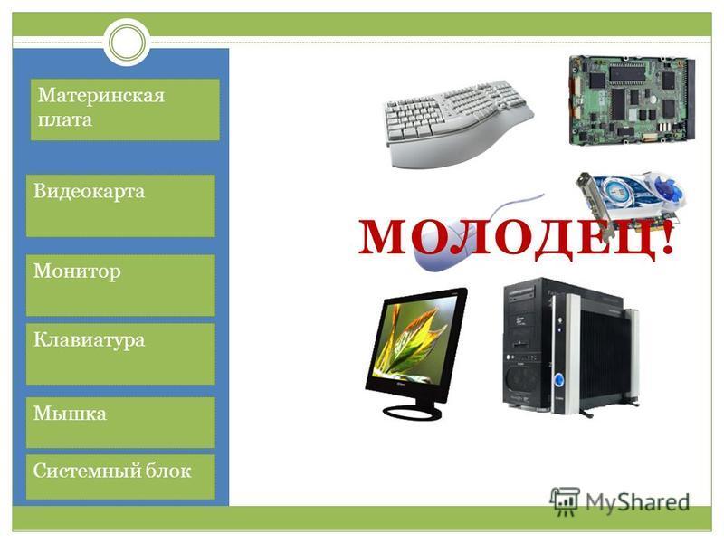 Материнская плата Видеокарта Монитор Клавиатура Мышка Системный блок МОЛОДЕЦ!