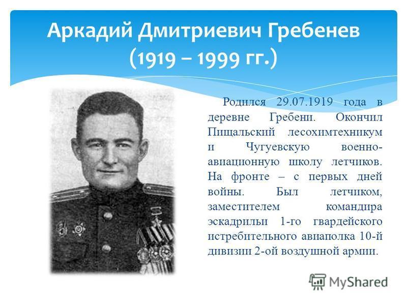 Родился 29.07.1919 года в деревне Гребени. Окончил Пищальский лесохимтехникум и Чугуевскую военно- авиационную школу летчиков. На фронте – с первых дней войны. Был летчиком, заместителем командира эскадрильи 1-го гвардейского истребительного авиаполк