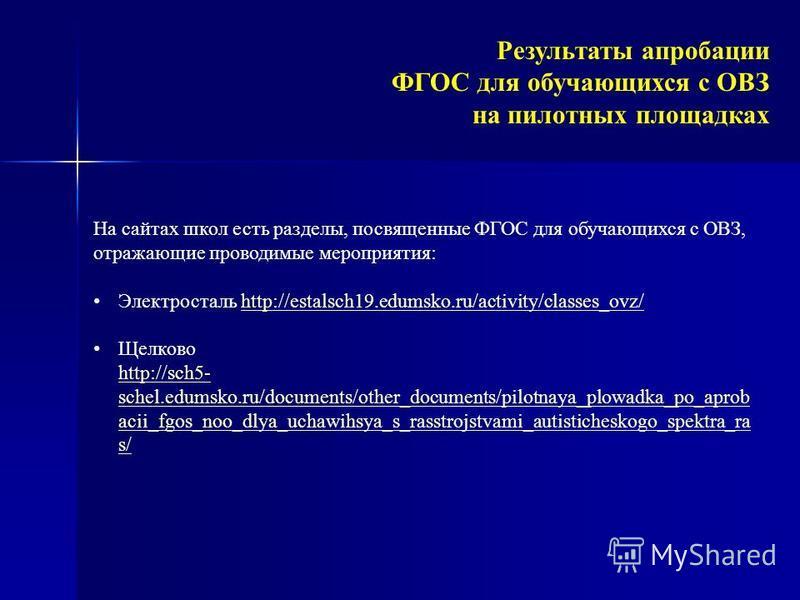 На сайтах школ есть разделы, посвященные ФГОС для обучающихся с ОВЗ, отражающие проводимые мероприятия: Электросталь http://estalsch19.edumsko.ru/activity/classes_ovz/http://estalsch19.edumsko.ru/activity/classes_ovz/ Щелково http://sch5- schel.edums