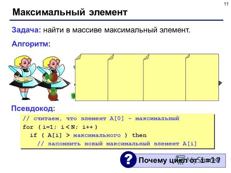 11 Максимальный элемент Задача: найти в массиве максимальный элемент. Алгоритм: Псевдокод: // считаем, что элемент A[0] – максимальный for ( i=1; i < N; i++ ) if ( A[i] > максимального ) then // запомнить новый максимальный элемент A[i] // считаем, ч