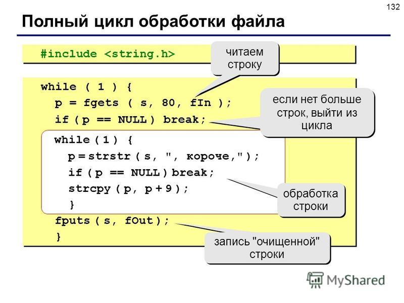 132 #include Полный цикл обработки файла while ( 1 ) { p = fgets ( s, 80, fIn ); if ( p == NULL ) break; while ( 1 ) { p = strstr ( s,