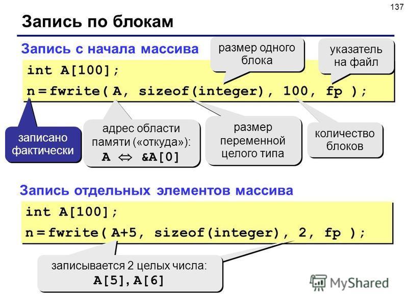 137 Запись по блокам Запись с начала массива int A[100]; n = fwrite( A, sizeof(integer), 100, fp ); int A[100]; n = fwrite( A, sizeof(integer), 100, fp ); адрес области памяти («откуда»): A &A[0] адрес области памяти («откуда»): A &A[0] размер одного