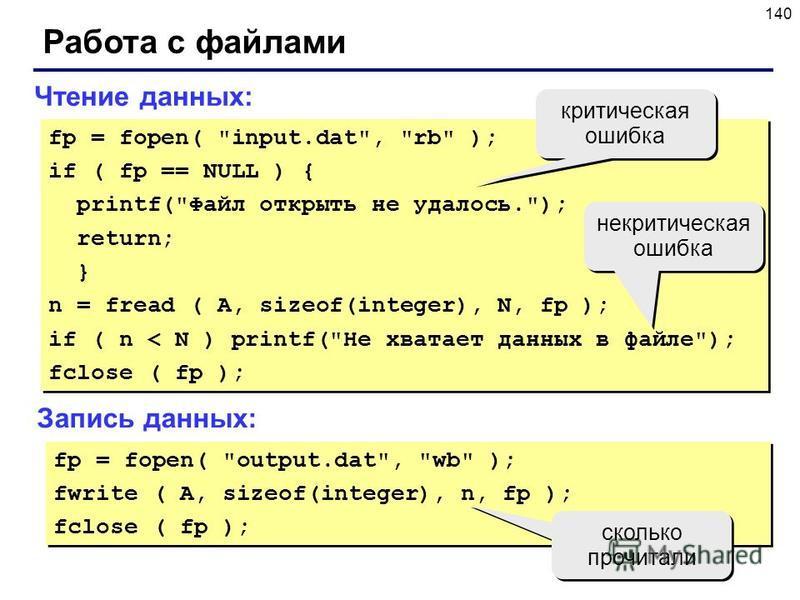 140 Работа с файлами fp = fopen(