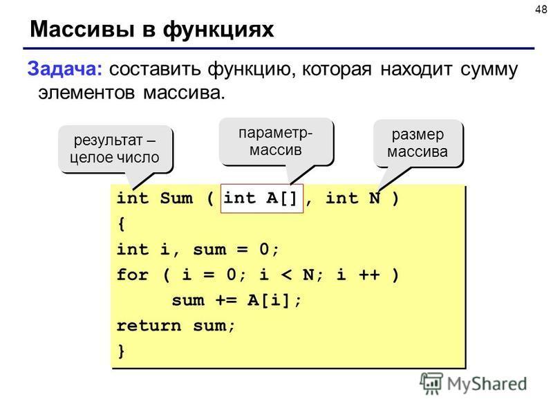 48 Массивы в функциях Задача: составить функцию, которая находит сумму элементов массива. int Sum ( int A[], int N ) { int i, sum = 0; for ( i = 0; i < N; i ++ ) sum += A[i]; return sum; } int Sum ( int A[], int N ) { int i, sum = 0; for ( i = 0; i <