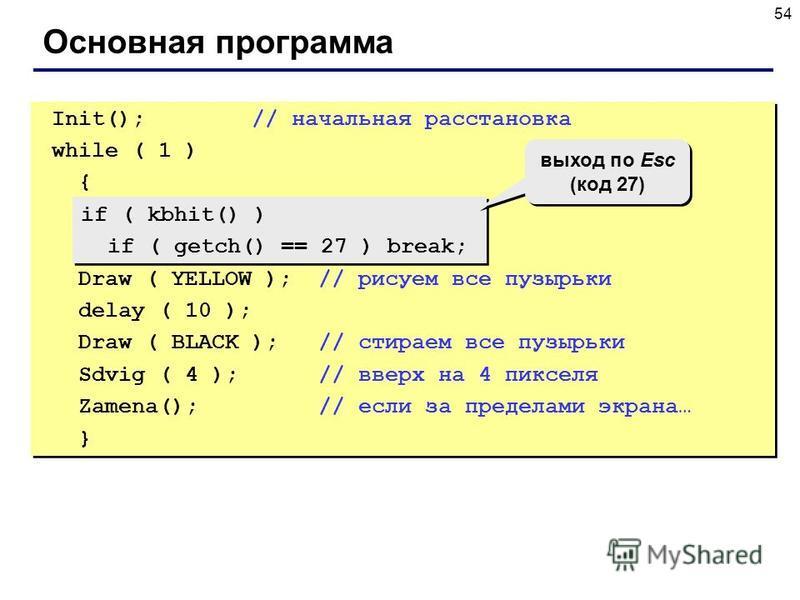 54 Основная программа Init(); // начальная расстановка while ( 1 ) { Draw ( YELLOW ); // рисуем все пузырьки delay ( 10 ); Draw ( BLACK ); // стираем все пузырьки Sdvig ( 4 ); // вверх на 4 пикселя Zamena(); // если за пределами экрана… } Init(); //