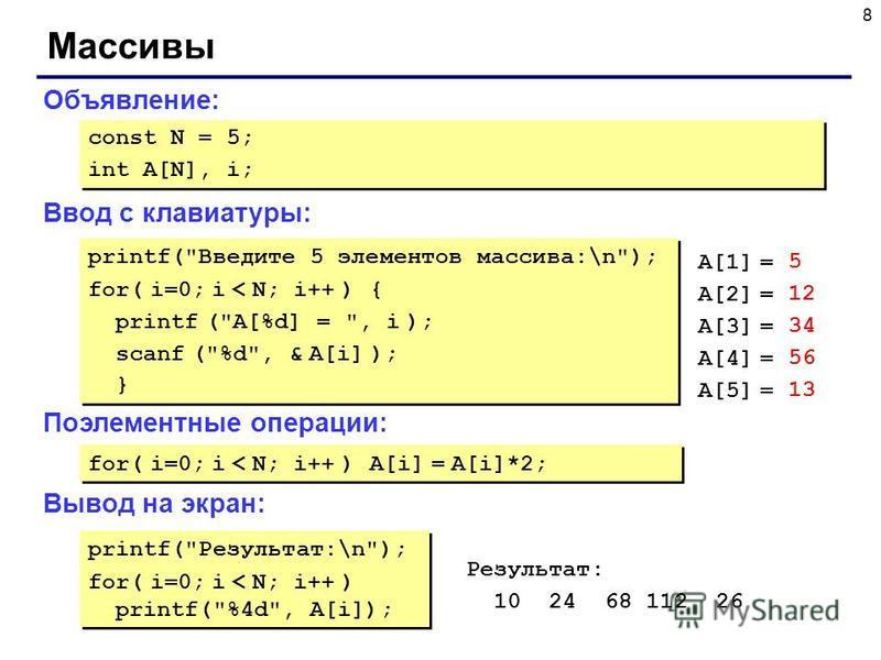 8 Массивы Объявление: Ввод с клавиатуры: Поэлементные операции: Вывод на экран: const N = 5; int A[N], i; const N = 5; int A[N], i; printf(