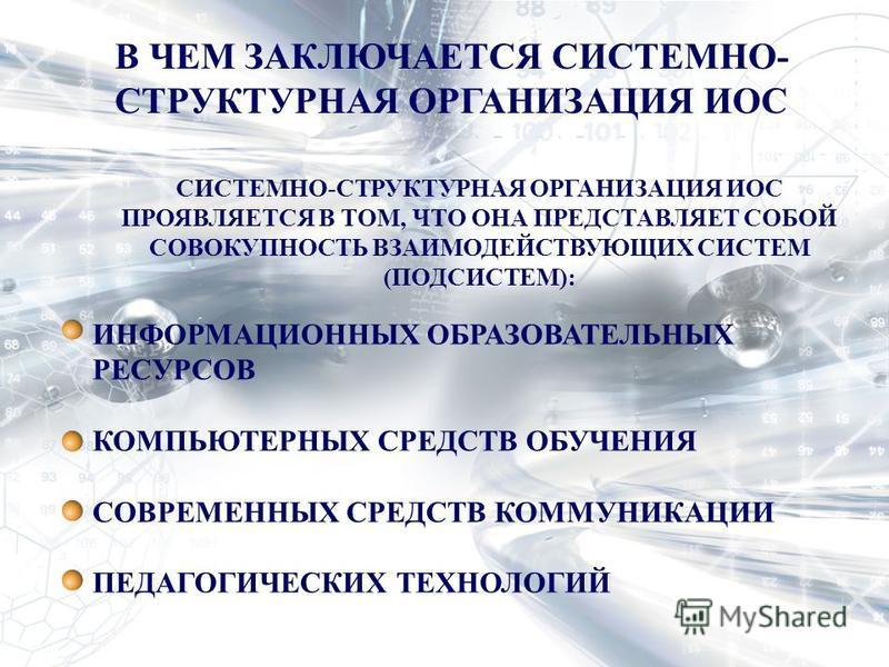 В ЧЕМ ЗАКЛЮЧАЕТСЯ СИСТЕМНО- СТРУКТУРНАЯ ОРГАНИЗАЦИЯ ИОС СИСТЕМНО-СТРУКТУРНАЯ ОРГАНИЗАЦИЯ ИОС ПРОЯВЛЯЕТСЯ В ТОМ, ЧТО ОНА ПРЕДСТАВЛЯЕТ СОБОЙ СОВОКУПНОСТЬ ВЗАИМОДЕЙСТВУЮЩИХ СИСТЕМ (ПОДСИСТЕМ): ИНФОРМАЦИОННЫХ ОБРАЗОВАТЕЛЬНЫХ РЕСУРСОВ КОМПЬЮТЕРНЫХ СРЕДСТВ