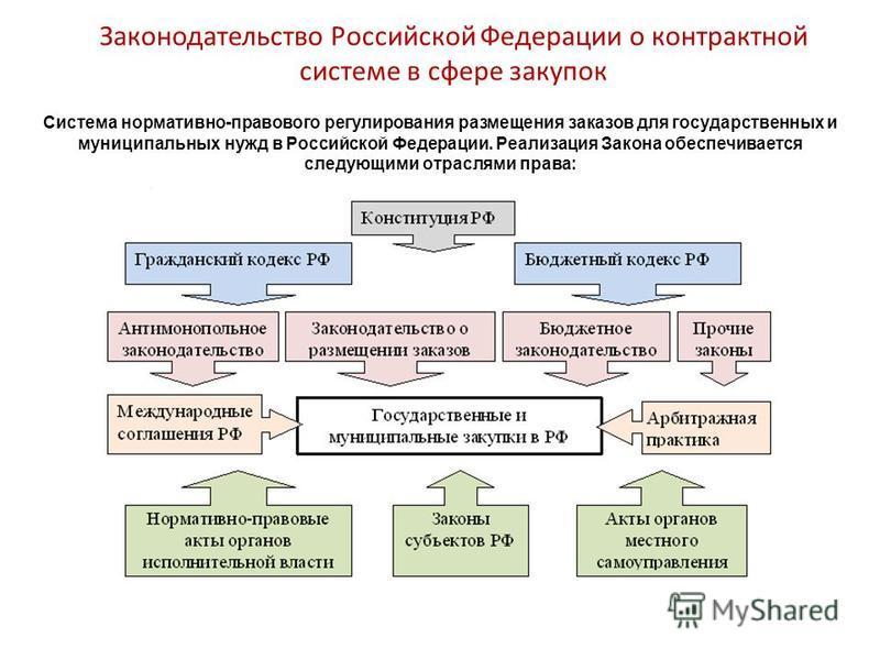 Законодательство Российской Федерации о контрактной системе в сфере закупок Система нормативно-правового регулирования размещения заказов для государственных и муниципальных нужд в Российской Федерации. Реализация Закона обеспечивается следующими отр