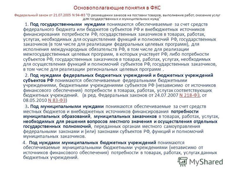 Основополагающие понятия в ФКС Федеральный закон от 21.07.2005 N 94-ФЗ