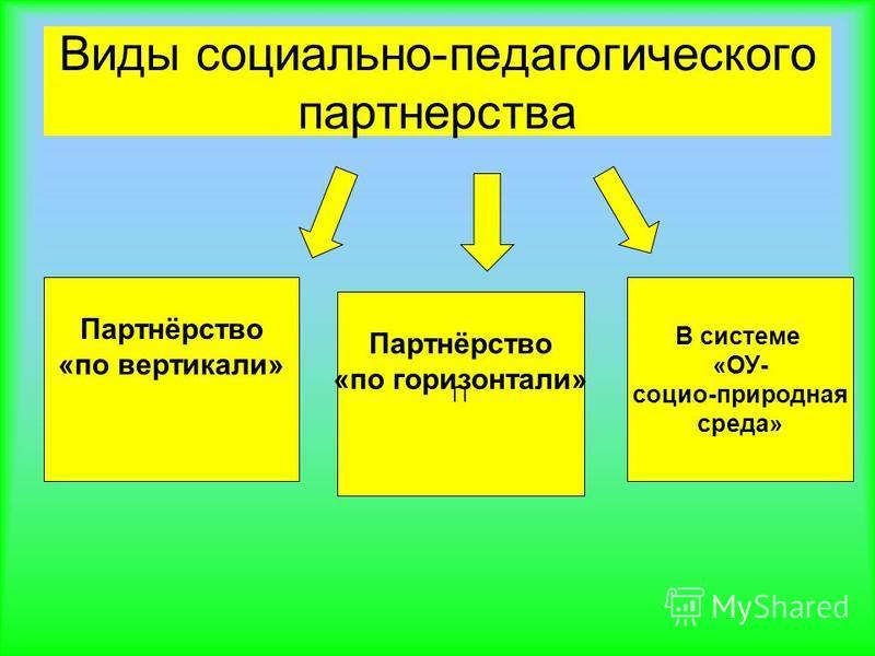 Виды социально-педагогического партнерства В системе «ОУ- социо-природная среда» Партнёрство «по вертикали» П Партнёрство «по горизонтали»