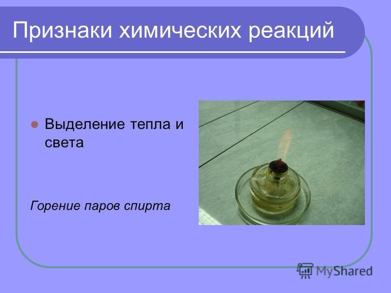 Признаки химических реакций Выделение тепла и света Горение паров спирта