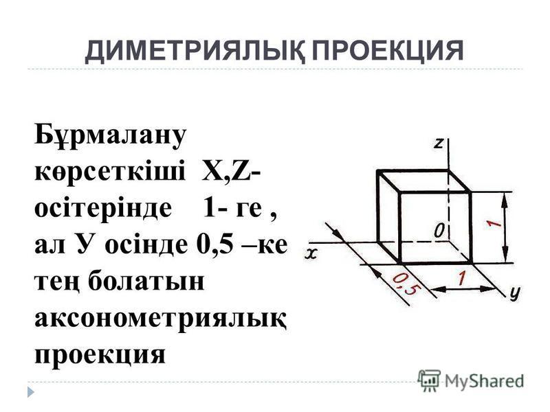 ДИМЕТРИЯЛЫҚ ПРОЕКЦИЯ Бұрмалану көрсеткіші Х,Z- осітерінде 1- ге, ал У осінде 0,5 –ке тең болатын аксонометриялық проекция