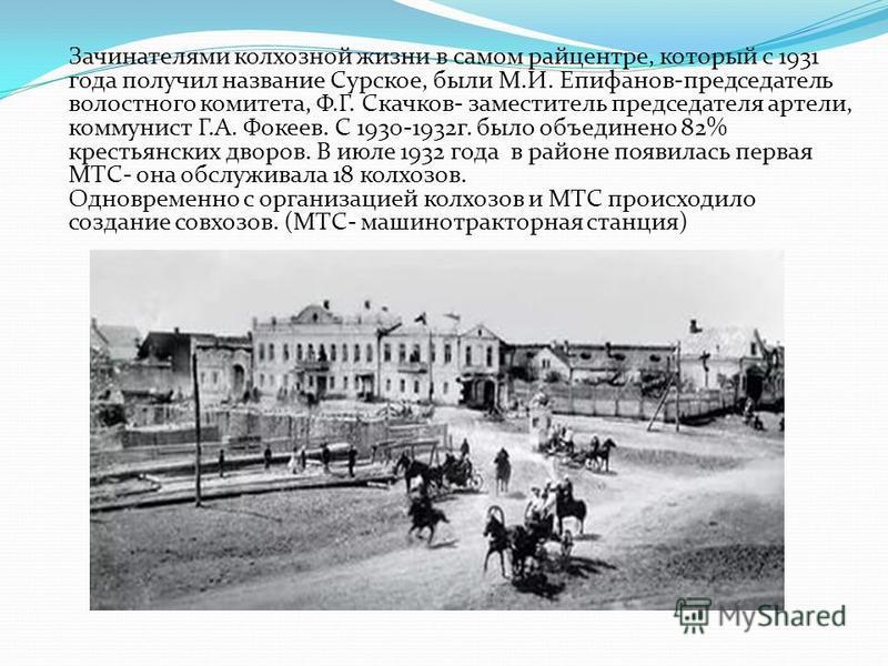 Зачинателями колхозной жизни в самом райцентре, который с 1931 года получил название Сурское, были М.И. Епифанов-председатель волостного комитета, Ф.Г. Скачков- заместитель председателя артели, коммунист Г.А. Фокеев. С 1930-1932 г. было объединено 82
