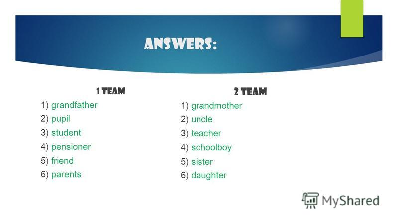 Answers: 1 team 1) grandfather 2) pupil 3) student 4) pensioner 5) friend 6) parents 2 team 1) grandmother 2) uncle 3) teacher 4) schoolboy 5) sister 6) daughter