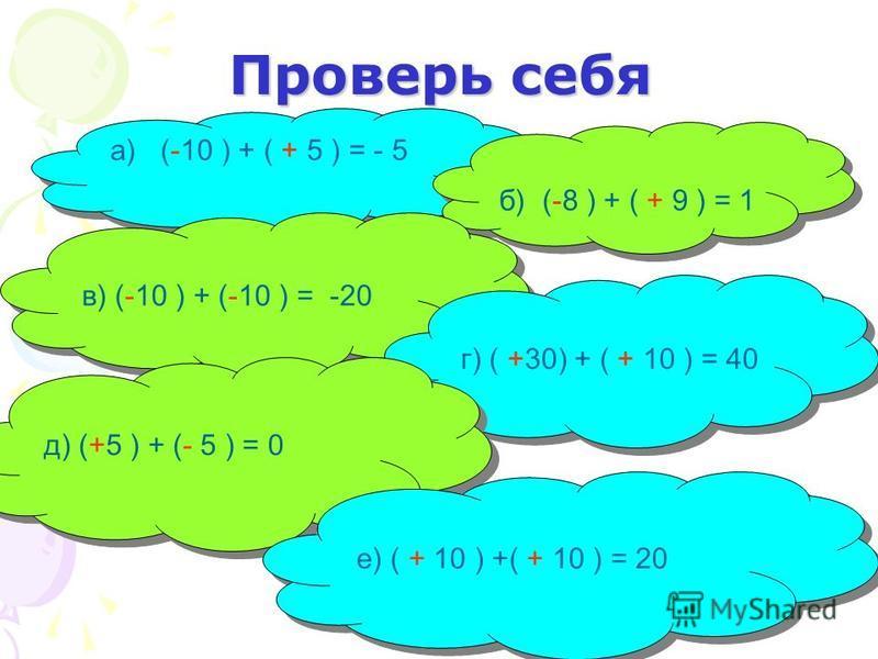 Проверь себя а) (-10 ) + ( + 5 ) = - 5 б) (-8 ) + ( + 9 ) = 1 в) (-10 ) + (-10 ) = -20 г) ( +30) + ( + 10 ) = 40 д) (+5 ) + (- 5 ) = 0 е) ( + 10 ) +( + 10 ) = 20