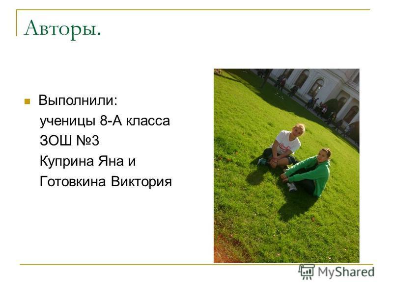 Авторы. Выполнили: ученицы 8-А класса ЗОШ 3 Куприна Яна и Готовкина Виктория