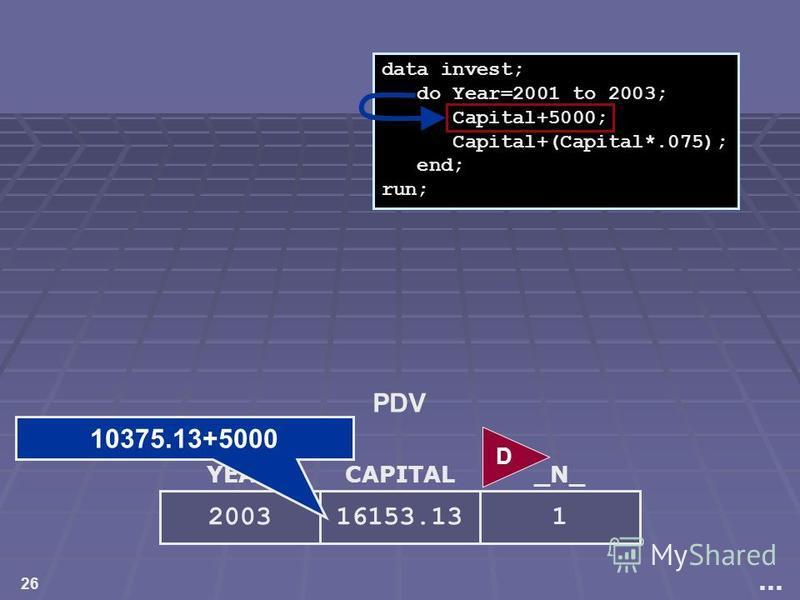 26 YEAR 2003 CAPITAL 16153.13 _N_ 1 data invest; do Year=2001 to 2003; Capital+5000; Capital+(Capital*.075); end; run;... D PDV 10375.13+5000